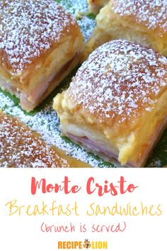 Monte Cristo Breakfast Sandwiches are one of those brunch recipes that your frie. - Sensational Recipes for Sandwiches - Monte Cristo Breakfast Sandwiches are one of those brunch recipes that your friends will ask about - Mother's Day Brunch Buffet, Brunch Dishes, Brunch Menu, Brunch Party, Sunday Brunch, Brunch Food, Easter Brunch, Vegan Breakfast Recipes, Brunch Recipes