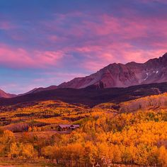 Photo @stephen_matera // Swipe left to view the full image. Panoramic photo of 14,023-foot Wilson Peak and aspens below a fiery sunset in autumn, Telluride, Colorado. Wilson Peak is a popular peak for climbers, mainly in summer. The climbing route is considered Class 3, meaning that scrambling over rock is required but ropes are not required. Follow me @stephen_matera for more images like this from Colorado and around the world. #autumn #UncompahgreNationalForest #SanJuanMountains