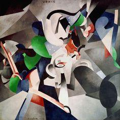 Francis Picabia. Udnie (Jeune fille américaine; danse) (Udnie [Young American Girl; Dance]). 1913. Oil on canvas, 9′ 6 3/16″ × 9′ 10 1/8″ (290 × 300 cm). Centre Pompidou, Musée national d'art moderne – Centre de création industrielle, Paris. Purchased by the State, 1948. © 2016 Artist Rights Society (ARS), New York/ADAGP, Paris. Photo: © Centre Pompidou, MNAM-CCI/Georges Meguerdtchian/Dist. RMN–Grand Palais/Art Resource, New York.