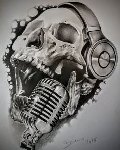 skull with headphones drawing Stéphane Bueno du studio Black Corner Tattoo headphone tattoo Sketch Tattoo Design, Skull Tattoo Design, Tattoo Sketches, Tattoo Drawings, Tattoo Designs, Tatouage Rock And Roll, Tattoo Studio, Headphones Tattoo, Skull Headphones