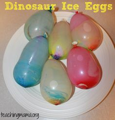 How to Make Dinosaur Ice Eggs!  Kira would love this! Could be lots of fun!