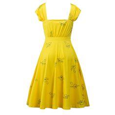 Preself 2017 New Women Ladies Fashion Leisure Short sleeves Square Collar Summer Yellow Floral Swing Slim Print Dress