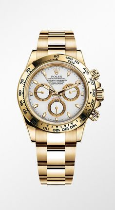 Rolex Cosmograph Daytona in 18ct yellow gold with a white dial.