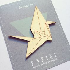 SALE / Origami crane hand painted wooden brooch by papiki on Etsy, €6.00