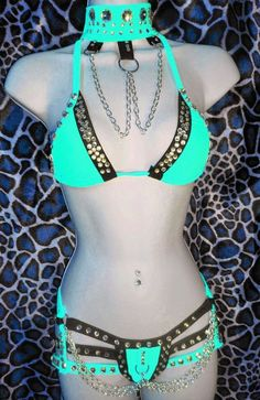 NEON MINT BLUE/GREEN EXOTIC OUTFIT, SEXY WOMEN'S, CUSTOM MADE,STRIPPER OUTFIT  #custommadebyTheCostumeLady