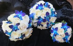 These are near perfect! ivory rose and blue orchid corsage   Blue Orchid Wedding Bouquets   Flickr - Photo Sharing!