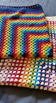 Rainbow+Crochet+Blanket.+41+Granny+Square.+Baby+Afghan
