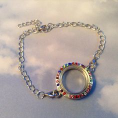Round Silver Living Memory Locket Bracelet With Multi Color Stones