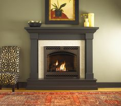 Kenwood wood mantel by Heat N Glo dark stain