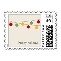 Modern Holiday Christmas Ornaments Postage Stamp