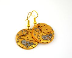 Pair of steampunk watch Movement earrings. Gild watchmovement earrings. Fashion women earrings. Vacation earrings. Fashion jewelry by Mysstic on Etsy