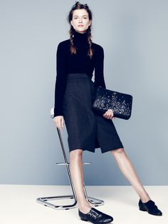 skirt + strap loafers | from jcrew