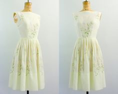 50s day dress / 1950s dress / yellow dress / by VintConditionStyle, $126.00