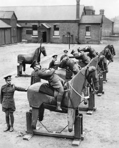 ★ Old Black & White Photo March New recruits at the barracks of the Queen's Own Hussars, a British cavalry outfit that dated to the century, learned balance on wooden horses. Photo: The New York Times