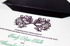 Mask on letterpress wedding invitation created at Chic Ink