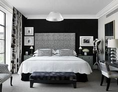 black and silver bedroom ideas home design layout ideas. Black And Silver Bedroom Decorating Ideas Black White And Grey Bedroom, White Wall Bedroom, Black Accent Walls, Bedroom Black, White Rooms, Black Accents, Master Bedroom, Gray Walls, Black Walls