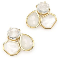 Ippolita 18K Gold Rock Candy Mixed Stone Cluster Earrings in Flirt (8,170 PEN) ❤ liked on Polyvore featuring jewelry, earrings, white, 18 karat gold earrings, 18k gold earrings, white earrings, gold cluster earrings and 18 karat gold jewelry