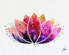 Lotus Flower Yoga Symbol Watercolor Illustrations by PainterlyDots