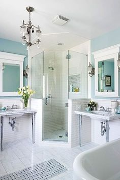 Master shower - half tile/half glass wall.  Inspirational Bathroom Design Ideas and Photos - Zillow Digs