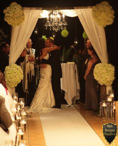 Sherwood Forest Wedding Canopy with vintage chandelier... Admiral Baker Golf Course. San Diego Ca