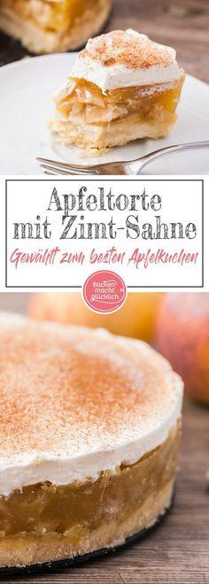 Diese Apfel-Sahne-Torte ist einer der allerbesten Apfelkuchen überhaupt: Auf den nur leicht süßen Mürbeteig folgen eine saftige, erfrischende Apfel-Pudding-Füllung und leckere Vanille-Zimt-Sahne. Die Apfeltorte mit Zimt kommt immer gut an!