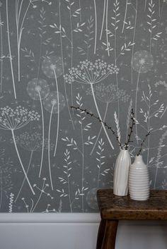 Paper meadow Wallpaper in Charcoal, Hannah Nunn