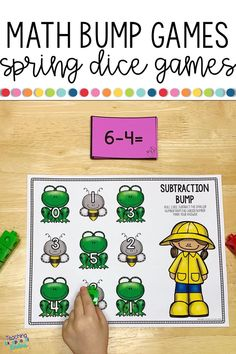 These fun math bump game boards will keep your kindergarten students engaged in guided math stations.  Roll and cover dice games are a simple way to practice basic addition and subtraction facts and to build a strong number sense.  Kids will love learning to subitize with these printable activities! Learn more about how to use these games to differentiate your math centers! #dicegames #mathgames