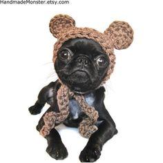 Crocheted Ewok Dog Hat by Handmade Monster