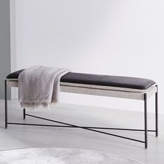 Our versatile Edwin Bench looks just as good sitting at the end of a bed as it does in an entryway or living room. Standing on an airy metal frame, it brings together smooth leather with textural linen weave for a sophisticated mix of materials. Modern Bedroom, Master Bedroom, Kirkland House, End Of Bed Bench, Leather Bench, White Office, Ottoman Bench, Living Room Chairs, Home Accessories