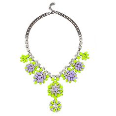 Verdant Statement Necklace Neon Yellow/Purple (190 VEF) ❤ liked on Polyvore