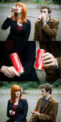 The Doctor and Donna share a coke. Great cosplay.