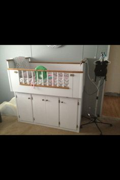 Adaptive Crib: Special Needs This crib holds Talynn's oxygen, pulse ox, nebulizer, and suction machine plus the sides fold down for easy access!