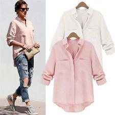 Summer New Womens Casual Long Sleeve Linen Blend Shirt Loose Blouse Ladies Tops
