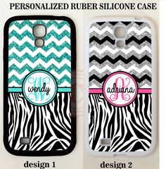 NEW TEAL BLACK SILVER CHEVRON ZEBRA PRINT MONOGRAM Case For Samsung Galaxy S7 S6 #UnbrandedGeneric