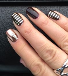 Jamberry. Fall fancy. Gold stripe. Layers. Gel.