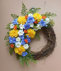 """18"""" Yellow Marigold Colorful Floral Spring Summer Grapevine Door Wreath"""