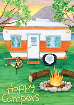 """Happy Campers Garden Flag from Just for Fun Flags. Get ready for some outdoor adventures. This Happy Campers Garden Flag is from Accent Flags . This campground design is visible from both sides – """"Happy Campers"""" reads correctly fro Vintage Rv, Vintage Caravans, Vintage Travel Trailers, Vintage Campers, Vintage Motorhome, Camping Signs, Camping Glamping, Camping Life, Camping 2017"""