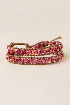 Eden Bead Wrap Bracelet in Burgundy- Burgundy