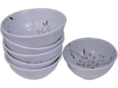 Minimalist White Cherry Blossom Porcelain Rice Bowl Set of Six