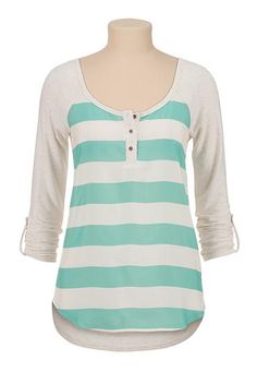 chiffon stripe front baseball tee (original price, $29) available at #Maurices