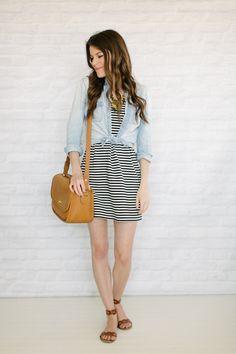 striped dress + chambray shirt