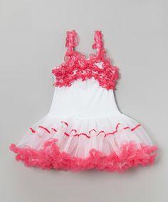 Look at this #zulilyfind! White & Hot Pink Ruffle Dress - Infant, Toddler & Girls by Wenchoice #zulilyfinds