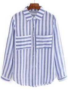 Blusa rayas verticales bolsillos -azul blanco EUR€12.66