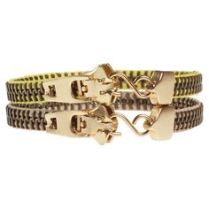 Zipper Bracelet Duo White Yellow, $15, now featured on Fab.