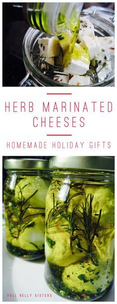 These herb marinated cheeses make the perfect homemade holiday gifts. Easy, elegant, and inexpensive! (Cheese Making) Homemade Food Gifts, Homemade Cheese, Edible Gifts, Diy Food Gifts, Marinated Cheese, Fingers Food, Fromage Cheese, How To Make Cheese, Making Cheese