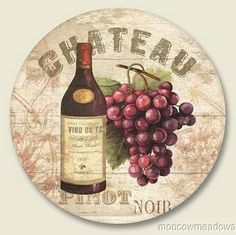 New WINE GRAPE LAZY SUSAN Tuscany Kitchen Spinner TRAY Chateau Green Tan Purple