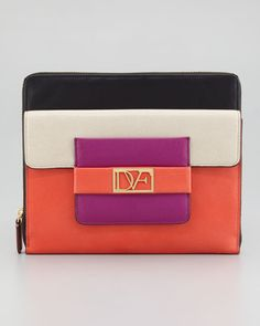 DVF Leather iPad Case in Coral, Sand, and Gardenia