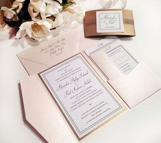 This design is the little black dress of invitations! Elegant, traditional and modern! Our sample is shown in BLUSH {soft peachy pink} and