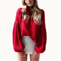 Vintage Red Sweater Women O-neck Long Lantern Sleeve