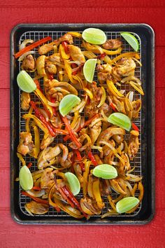 Sheet pan chicken fajitas are perfect for weeknight meals! Plus, it's Whole30-friendly, even topped with a dairy-free Avocado Crema!